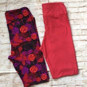 LuLaRoe Tween Red & Purple Leggings Bundle NEW
